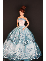 Blue Ball Gown With Light Blue Sequined